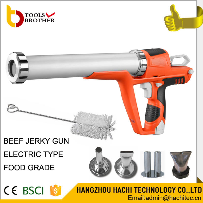 12v lithium battery jerky blaster electric jerky gun kit with 4pcs stainless steel nozzles and one brush battery jerky gun