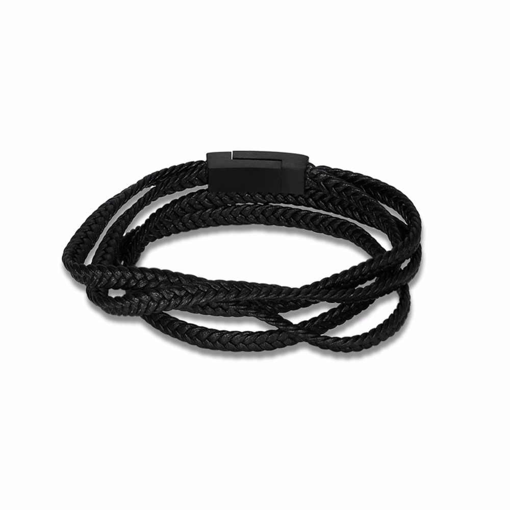 Black Men Leather Bracelets Braided Rope Stainless Steel Bracelets & Bangles Male Jewelry Fashion Gifts For Boys
