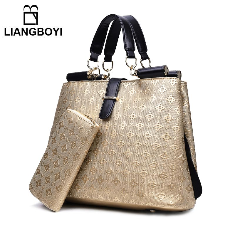 LIANGBOYI Brand Women Bag Set Fashion Designer Embossing Purses And Handbags Ladies Tote Bag High Quality Leather Shoulder Bag