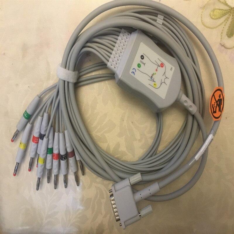 Livraison Gratuite Compatible Pour Cardiocare Bionet 2000/CardioTouch3000 d'une seule pièce 10 mène câble ECG avec le fil 4.0 Banane Fin CEI
