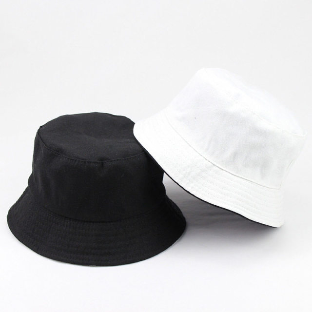 eb93636b890 LDSLYJR 2018 Cotton Solid color black and white Bucket Hat Fisherman Hat  outdoor travel hat Sun