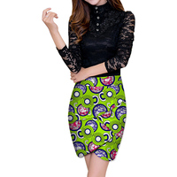 Elegant Individualization Front Kick Pleat Womens African Skirt Colorful African Print Element Dashiki Clothing Tailor Custom
