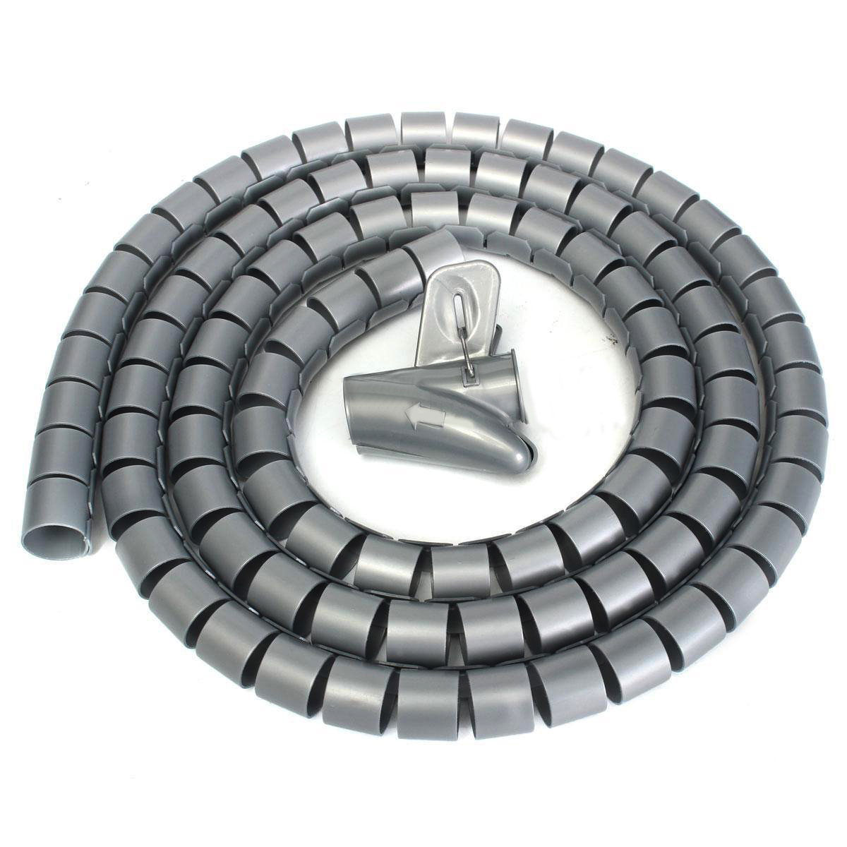 1pc 25mm Spiral Cable Wrapping Bands 2m Length Tidy Cord Wire Banding Loom Storage Organizer Silver