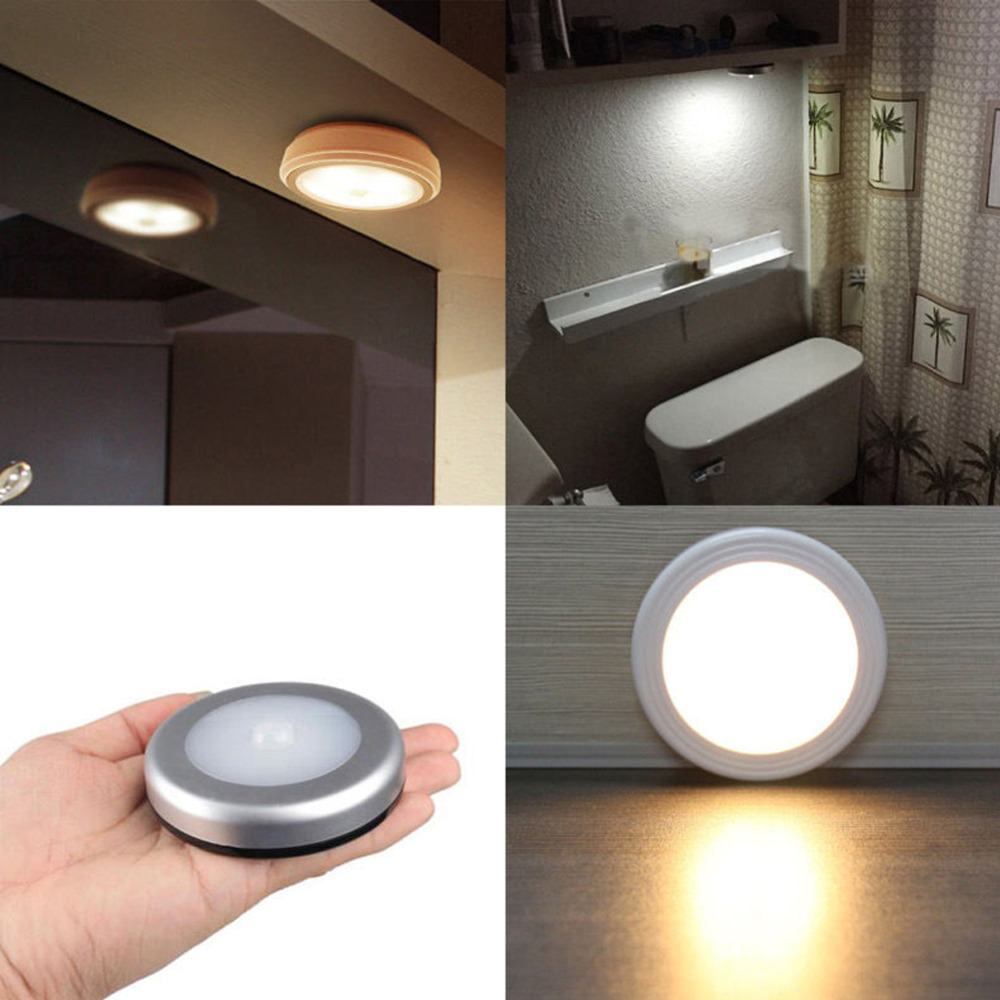1PCS Light with 6 LED Wireless PIR Motion Sensor Light Wall Cabinet Wardrobe Drawer Lamp Battery