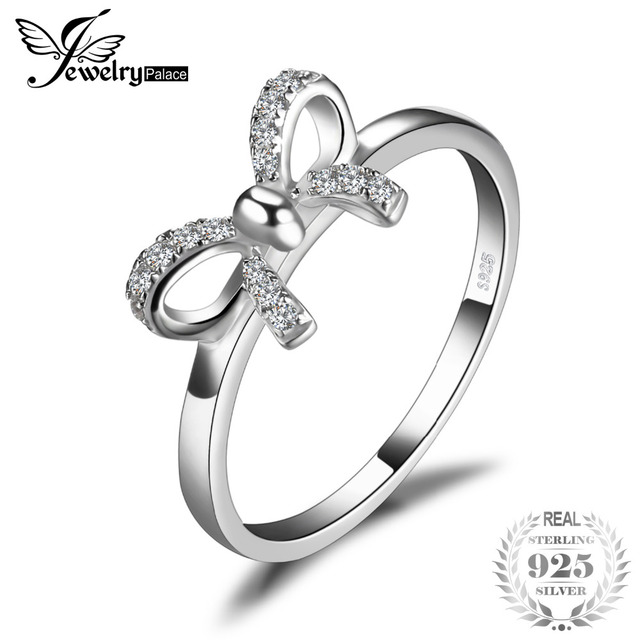 JewelryPalace Bow Anniversary Wedding Ring For Women Pure 925 Sterling Silver Fa