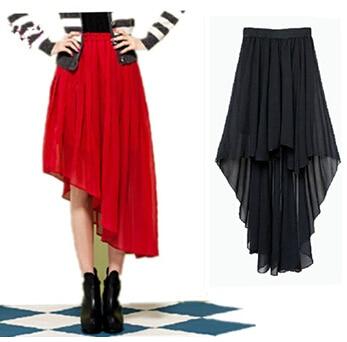2020 Summer Ms. Long Irregular Chiffon Skirts,plus Size Women Sexy Skirts,Rainbow Color Party Skirts