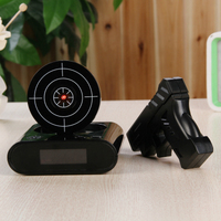 Alarm Clock Office Gadgets 1set Gun Alarm Clock / Shoot Alarm Clock / Gun O'clock / Lock N Load Target Table Clocks