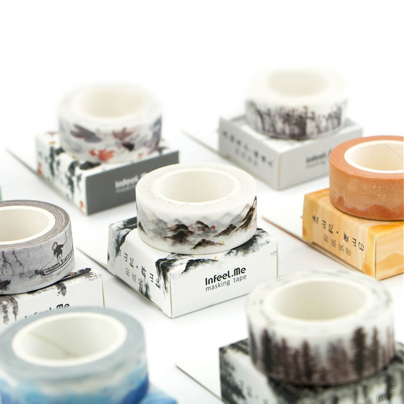 15mm x 7m Cute Ancient Fountain Ink Painting Decorative Adhesive Washi Tape Diy Scrapbooking Masking Tape School Office Supply недорго, оригинальная цена