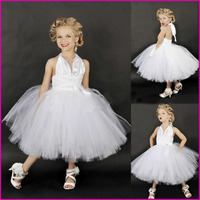 Sexy V-hals Wit Kleur Marilyn Monroe Cosplay Tutu Jurk Jurk Up Aangepast Custom Voor Kids Avondfeest Maat 2 t-6 t