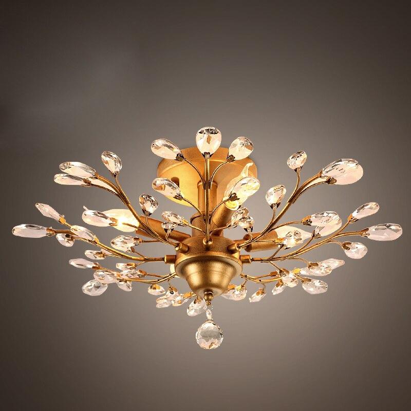 2016 Neue Design Kristallzweigen Kronleuchter Wohnzimmer Lampe Bett Zimmer Licht Schwarz Farbe Gold 110