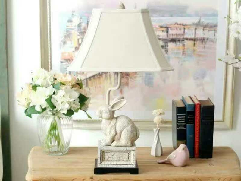 TUDA Free Shipping Creative Personality Resin Table Lamp White Rabbit Shaped Resin Table Lamp LED Desk Lamp E27 110V-220V innovation and unique ice block desk table lamp creative small ice lamp g9 220v free shipping