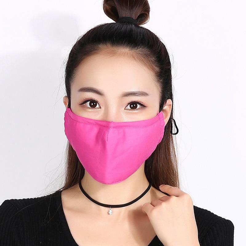 10 Teile/paket Großhandel Baumwolle Mund Maske Schutzmasken Für Winter Und Winter Baumwolle Staub Und Hitze Schützen Einfarbig Maske Masken Damen-accessoires