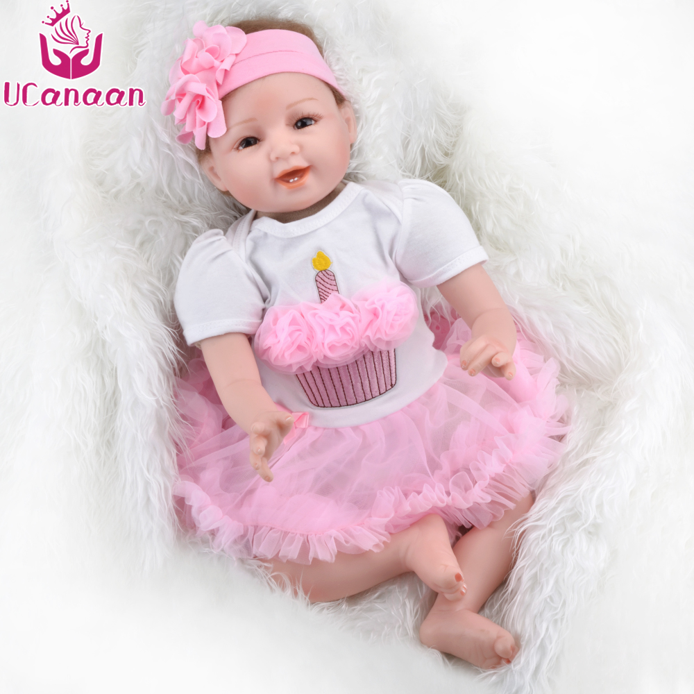 UCanaan Toys Silicone Reborn Baby Dolls Lifelike for Girl Baby Kids Soft Cloth Body Reborn Babies Best Gifts for Children