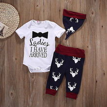 New Autumn Newborn Baby Boys Girls Tops Romper Pants Hat Outfits Christmas Clothes Outfit
