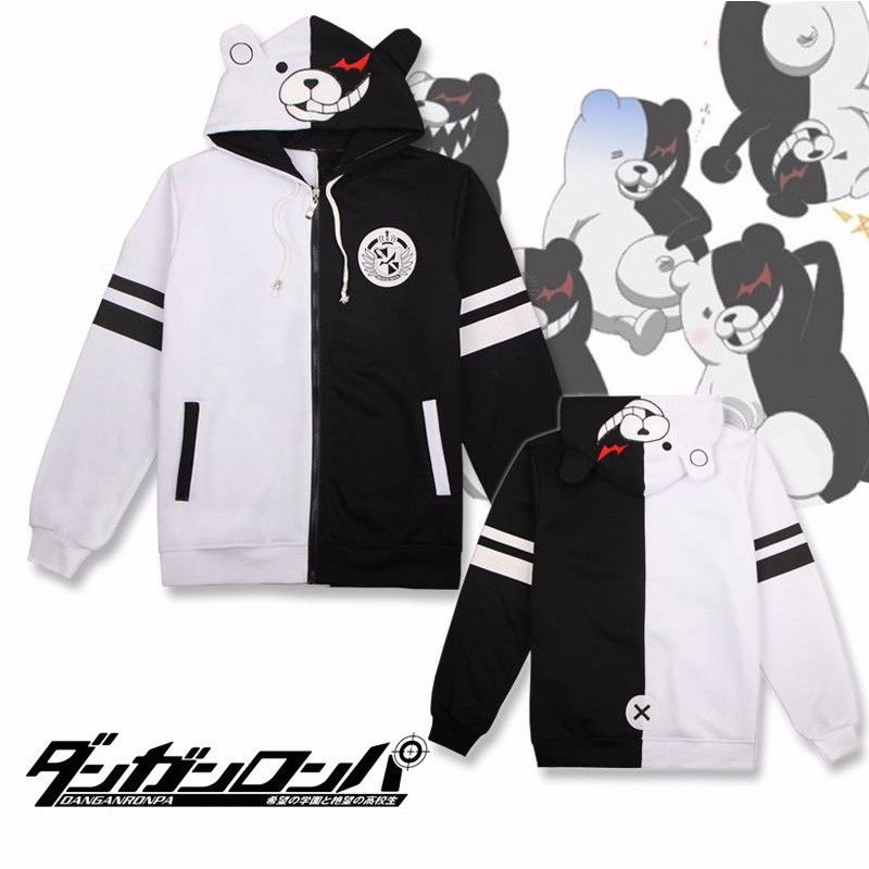 Anime Danganronpa Monokuma Costume Coat Unisex Hoodie Sweatshirt Hooded Black White Bear Long Sleeve Daily Casual Jacket Coat
