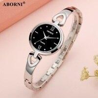 Aborni New Fashion Rhinestone Watches Women Luxury Brand Stainless Steel diamond Bracelet watches Ladies Quartz Watches Clock