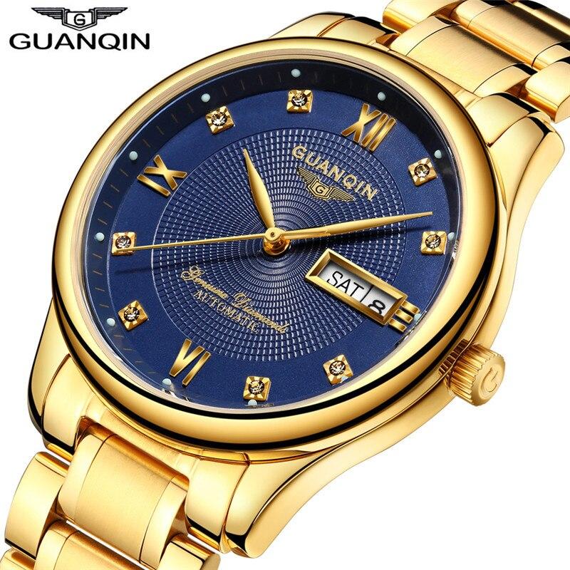 Saatler'ten Mekanik Saatler'de GUANQIN 2017 Otomatik erkek Saatler Top Marka Lüks Çelik Altın İzle Erkekler Aydınlık Saatı Erkek Saat Relogio Masculino'da  Grup 1