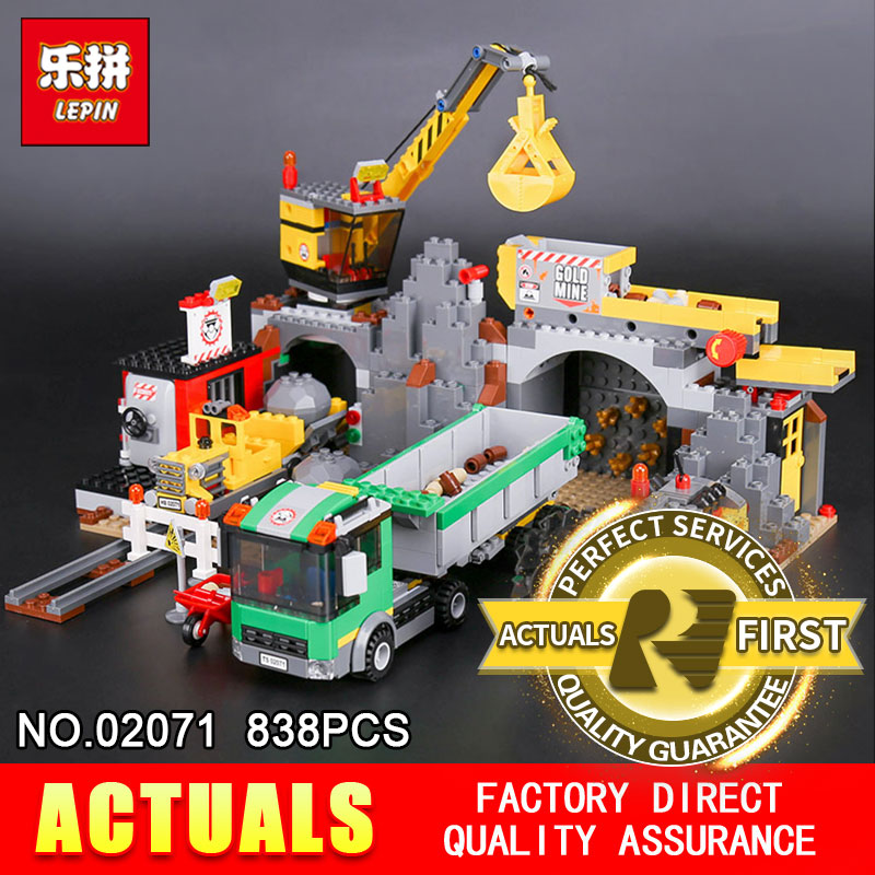Lepin 02071 838Pcs Genuine City Series The City Mine Set Assemblage 4204 Building Blocks Bricks Educational Toys Model as Gift lepin 02052 genuine 1029pcs city series the fire station set 60110 building blocks bricks educational toys christmas gift model
