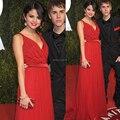 Oscar Red Carpet desfile del vestido de la celebridad v-cuello de la gasa roja de noche vestidos fiesta 2014 moda