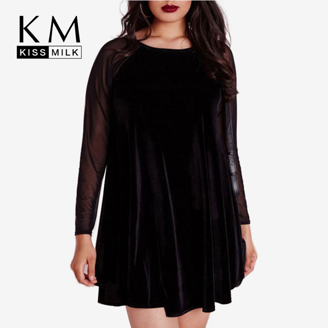 Kissmilk Plus Size New Fashion Women Big Size Casual Long Sleeve Mesh Patchwork Stripes Loose Mini Dress 3XL 4XL 5XL 6XL