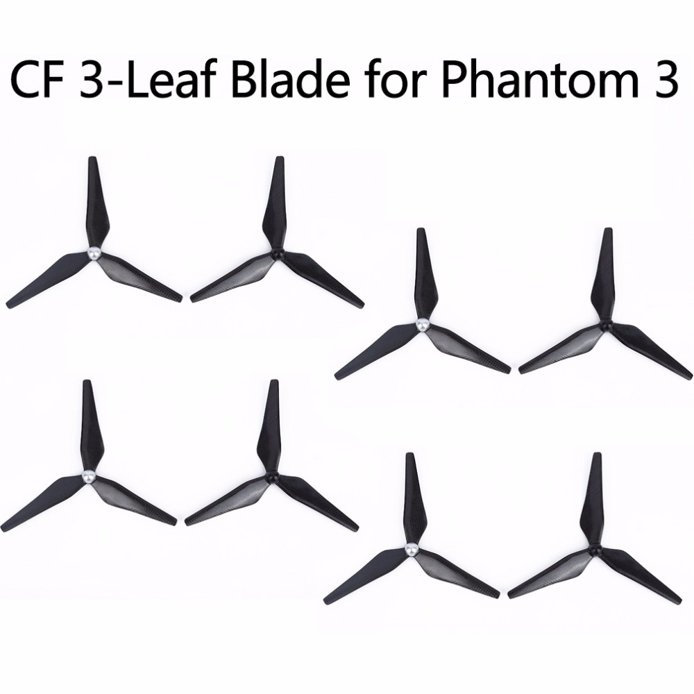 8PCS 9450 Carbon Fiber Propeller for DJI Phantom 3 2 Drone Self-tighten Props 3-Leaf Blade Spare Parts Replacement Accessories 4pcs lot rc quadcopter propeller 9450 carbon fiber propellers self locking props for phantom 2 vision fpv 2 pair