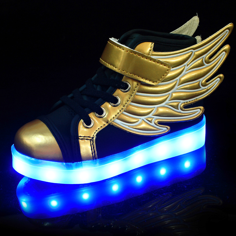 Children Glowing Sneakers High Top LED Shoes Kids Fashion Golden Wing Luminous Shoes Boys Running Casual Shoes With LED Light