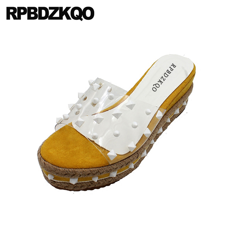 Espadrilles Rivet Wedge Transparent Pvc Sandals Rope Platform Women High Heels Harajuku Rock Stud Shoes Pumps Flatform Slides цена
