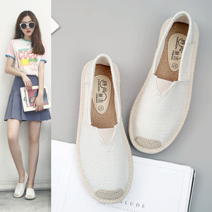 Image 2 - 2018 Summer Linen Flat Shoes Women Lightweight Breathable Fisherman Shoes Ladies Soft Casual Leisure Shoes Slip On Lazy Loafers