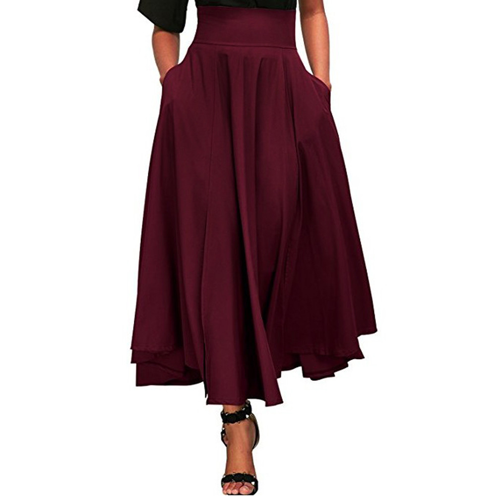 Newhot product women high waist pleated a line long skirt front slit belted maxi skirt s-xxl skirts womens pleated skirt