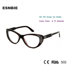 ESNBIE High Quality Luxury Cat Eye armacao de oculos de grau Diamond Women Myopia Lens Prescription Glasses  Spectacle Frame