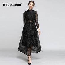 S-2XL 3XL Big Swing Black Red Winter Dress Women Stand Long Sleeve Midi Lace Wrap for Vintage Vestido Largo