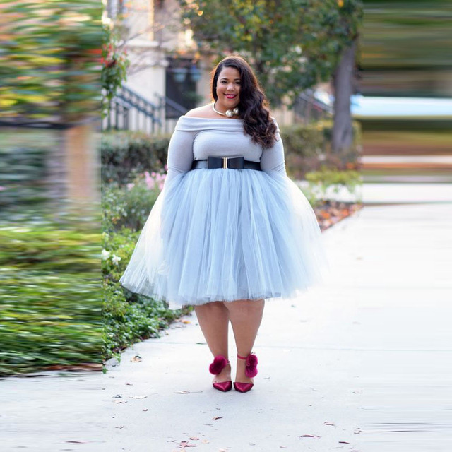e89f9ab9b92 Plus Size Sky Blue Knee Length Tulle Skirts For Women Midi Fashion Tulle  Skirt Female Clothing Custom Made Adult Saias Fashion