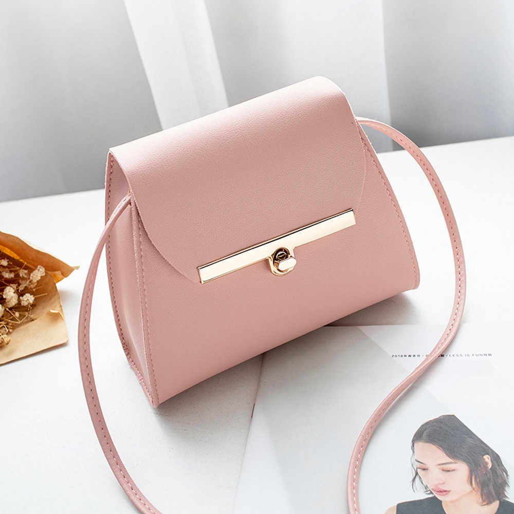 Moda de mujer de Color puro de cuero de PU bolso de hombro de diseñador bolsos bandolera de alta calidad 2018 Mini bolsos de mano 10Sep25