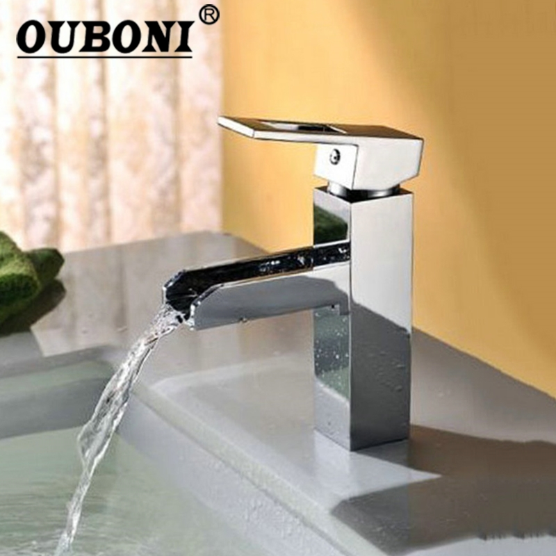 OUBONI New L-5 Bathroom Sink Basin Mixer Waterfall Faucet Torneira Chrome Vanity  Vessel Mixers Taps Faucets Fashion Water Tap
