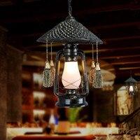Село из ротанга Винтаж LED Открытый Подвесные Светильники приспособления для бар Обеденная подвесной светильник Освещение в помещении подв