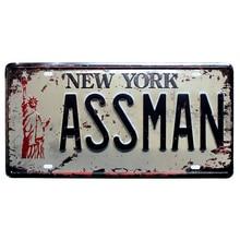 Vintage NEW YORK ASSMAN Car License Metal Painting Home Decor Art Craft Tin Sign Room Decoration Mix Order A927