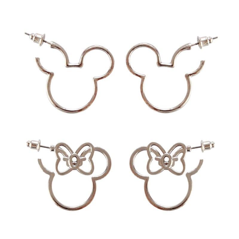 Cute Silver Color Mickey Minny Howllow Stud Earrings for Women Girl Female