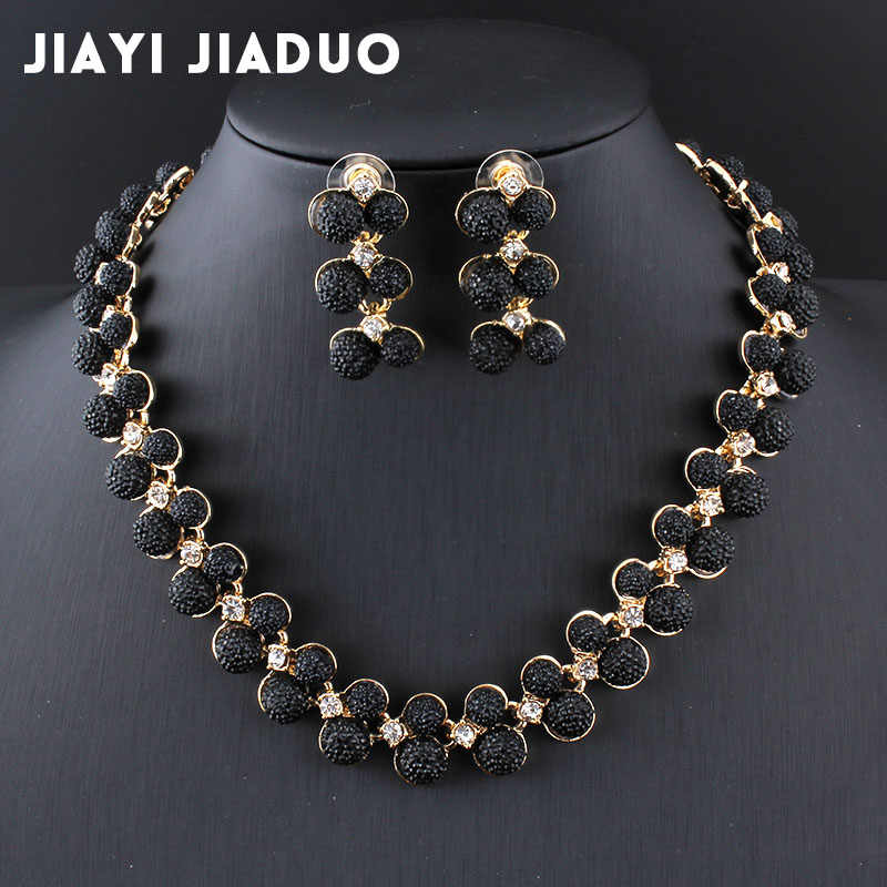 Jiayijiaduo Dubai Wedding Jewelry Sets Gold-color Necklace Earrings Black Austria Crystal Accessories Charm Women Dress Jewelry