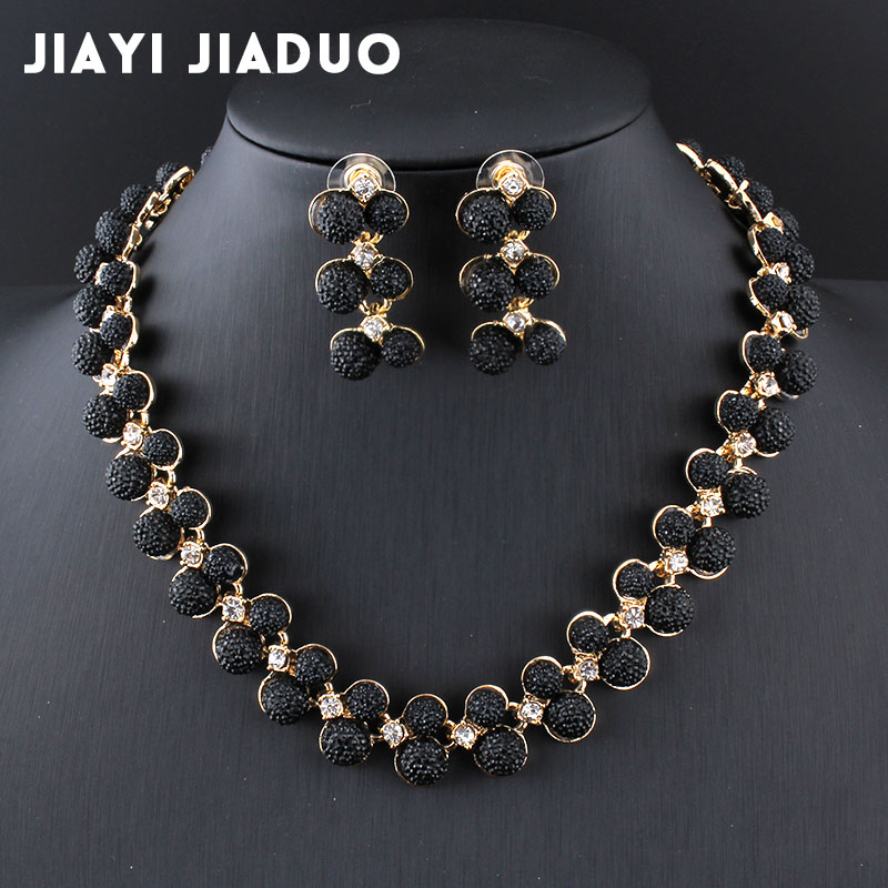 jiayijiaduo Dubai wedding jewelry set Gold-color Necklace Earrings Black Austria crystal accessories charm women's dress jewelry