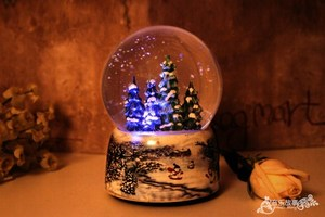 Image 3 - Christmas Snow Globe Snow House Crystal Ball Rotate Light Voice Control Music Box Castle In The Sky Birthday Gift for Girlfriend