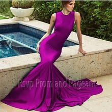 Cheap O-neck Mermaid Evening Gown Stretch Satin Long Dark Purple Evening Dress 2017 Special Occasion Dresses
