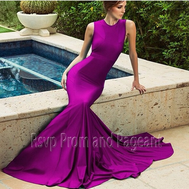 Purple satin evening dress