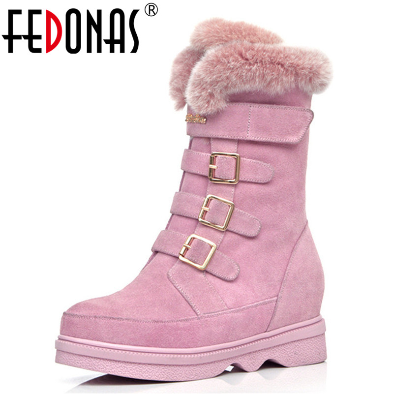 FEDONAS New Arrival Women Mid-calf Boots Wedges High Heels Warm Fur Snow Boots Winter Shoes Woman Buckles Elegant High Boots FEDONAS New Arrival Women Mid-calf Boots Wedges High Heels Warm Fur Snow Boots Winter Shoes Woman Buckles Elegant High Boots