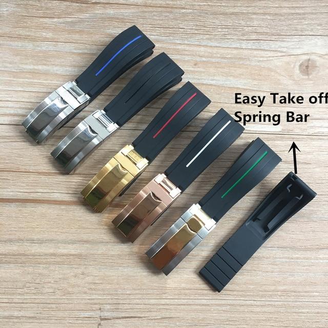 MERJUST Bracelet de montre en caoutchouc Silicone, 20mm 21mm, noir, souple, anti poussière, pour rôle Daytona Submariner GMT OYSTERFLEX