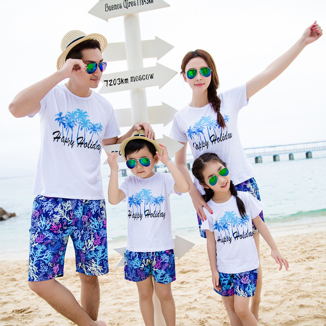 2016 New Summer family Matching Outfits Beach clothes Four Coconut design Trees Printed Suit T ...