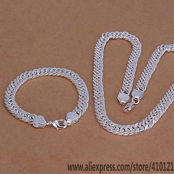 S141 Wholesale free shipping silver fine jewelry sets925 Jewelry Silver charms fashion B10M Curb Bracelet Necklace /dcnaltua