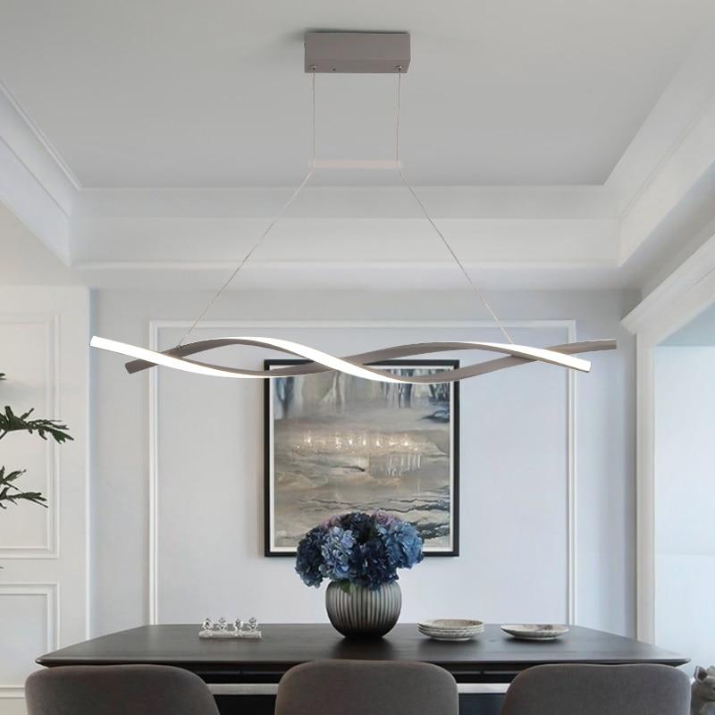 Fosco preto ou cinza minimalista moderno led pingente luzes para sala de estar jantar cozinha sala luminária żyrandol - 4
