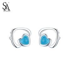 SA SILVERAGE Authentic 925 Sterling Silver Classic Hearts Stud Earrings Original Design Sterling Silver Jewelry Wedding Gift