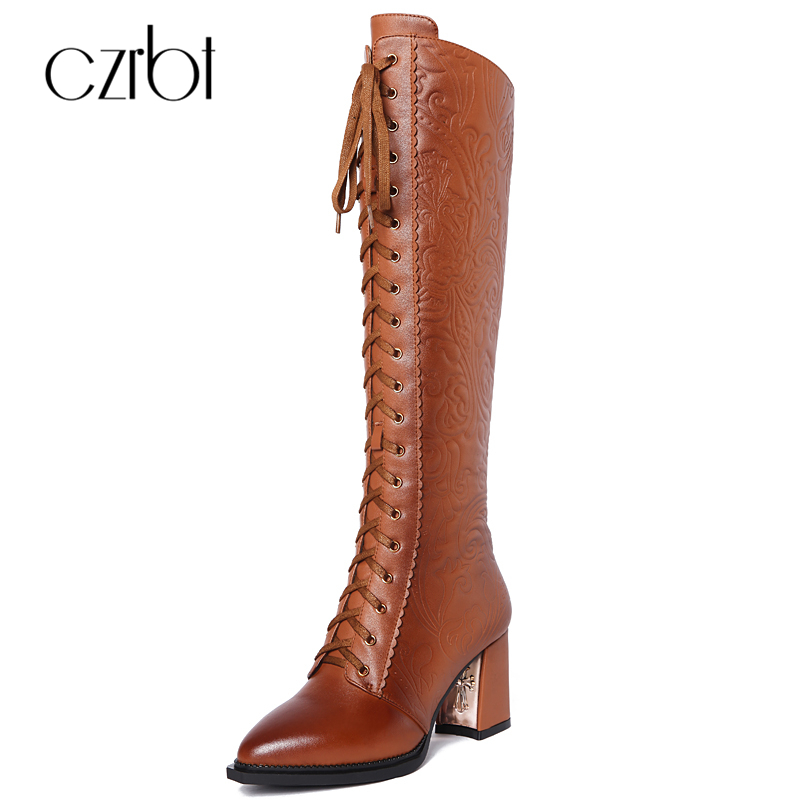 CZRBT Autumn Winter Fashion Women Knee High Boots High Quality Fretwork PU High Heel Boots Woman Pointed Toe Thigh High Boots