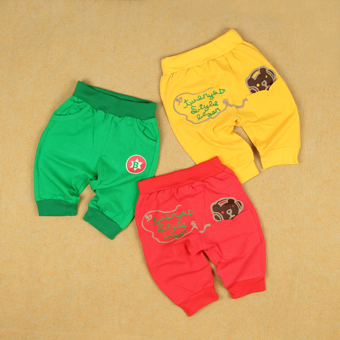 Earphones small cotton lycra openable-crotch big pp trousers male female child baby thin capris knee-length pants